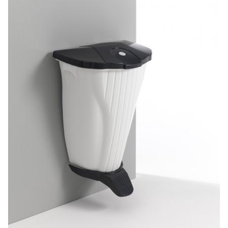 TTS Ведро мусорное WallUp, белое c педалью и крышкой антрацит
