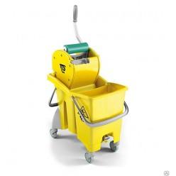 TTS Ведро ActionPro желтое 30 л, с отжимом , со сливным отверстием, диаметр колес 80 мм.
